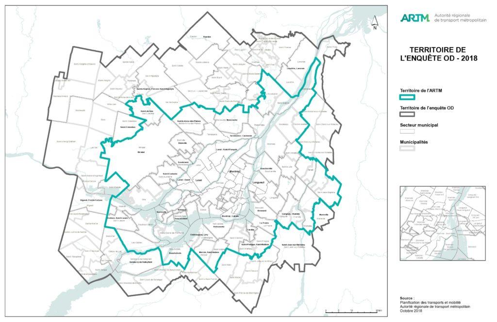 Carte du territoire de l'enquête Origine-Destination 2018
